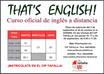 That´s English,¡matricúlate en el CIP Tafalla!